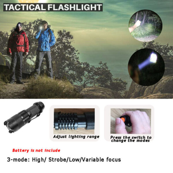 Flash light This is the battery powered off tactical flash light. This item has three modes to meet your hiking needs. And you can press the switch to change modes. You can also adjust the lighting range.
