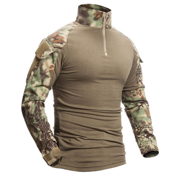 Camouflage Mandrake Cotton Military Shirt Long Sleeve Army Tactical -Green