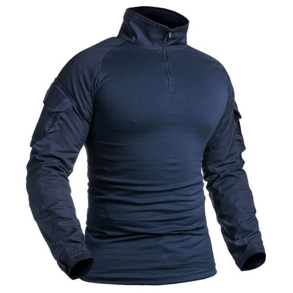 Military Shirt Men Cotton Long Sleeve Army Tactical Blue