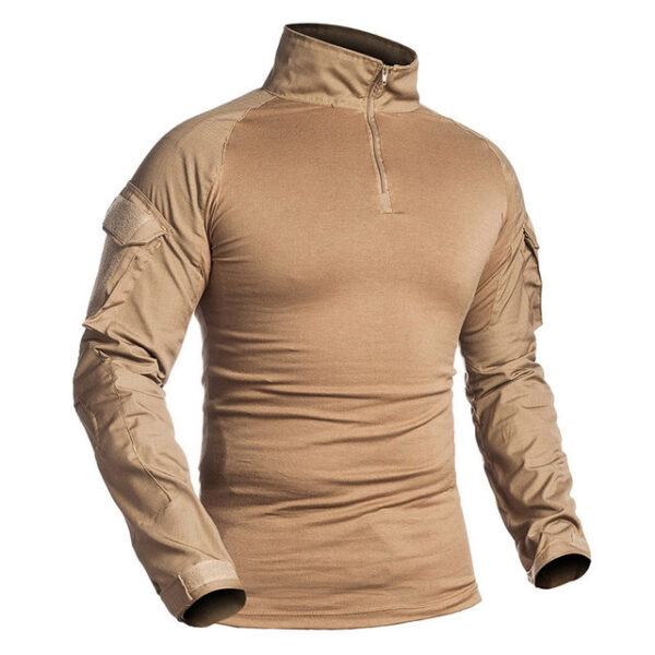 Military Shirt Men Cotton Long Sleeve Army Tactical Brown