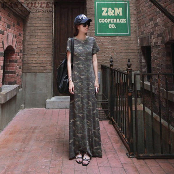 Harajuku long dress, military camouflage style,