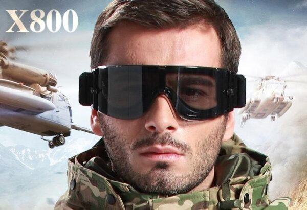 Tactical Goggles Lens Windproof UV Protection Frame: black