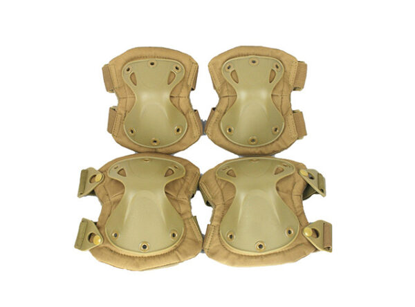 Green tactical military knee and elbow pads set