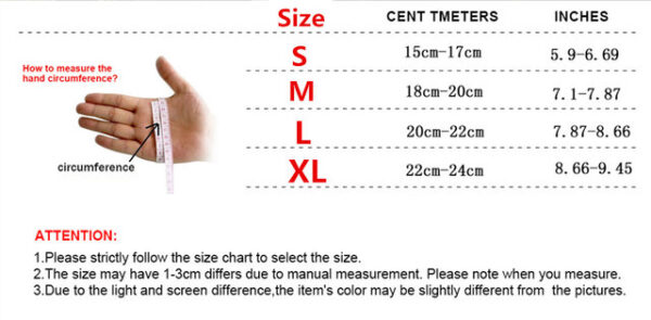 Half Finger Combat Military Tactical Gloves size chart