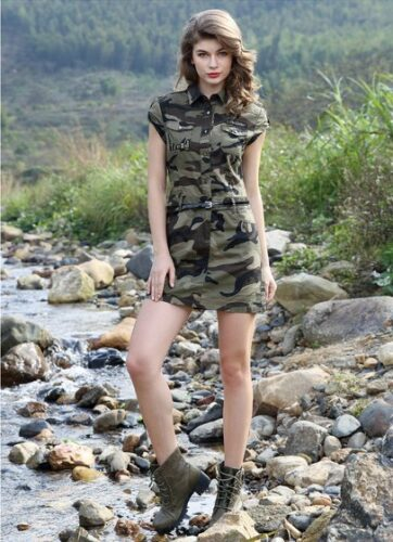 Women Summer Sexy Mini Dress Military Style
