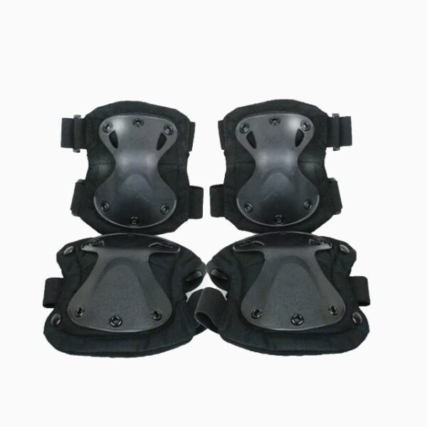 Black tactical military knee and elbow pads set