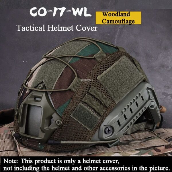 Woodland camuflage tactical helmet cover