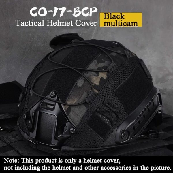 Black multicam camuflage tactical helmet cover