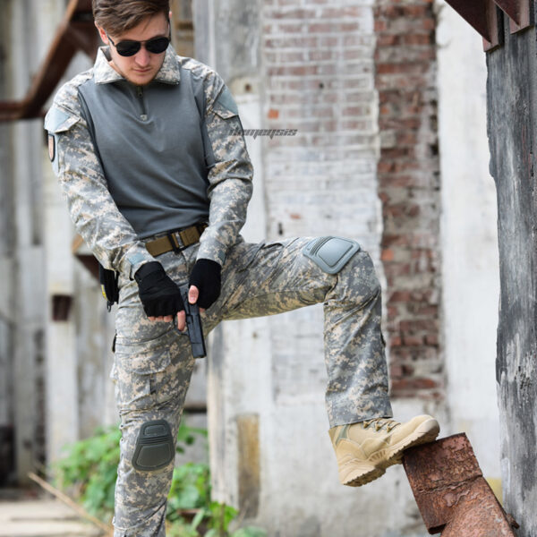 ACU Camouflage Military Tactical Uniform Shirts Pants with Elbow Knee Pads