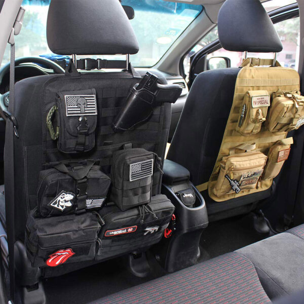 Tactical Molle System Car Seat Back Organizer Black